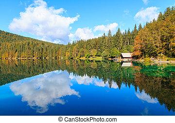 Beautiful Laghi di fusine lake in Italian alps