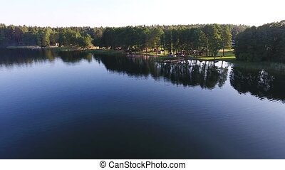 beautiful lake aerial view - beautiful lake with forest...