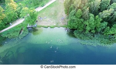 beautiful lake aerial view - aerial view of beautiful lake...