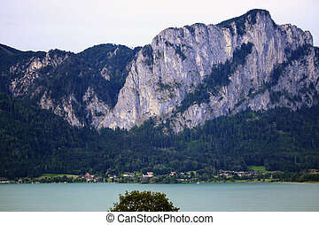 beautiful lake and mountain in Mondsee, Austria