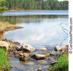 Beautiful Lake Going Into Stream in Minnesota. Near Itasca ...