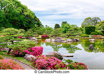 Beautiful lake in a Japanese garden