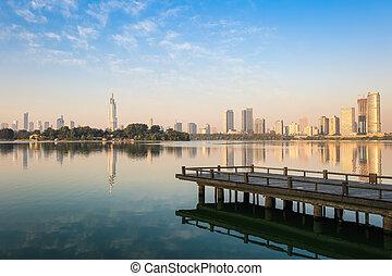 beautiful lake in nanjing - the beautiful lake with modern...