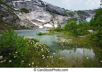 Beautiful lake in norwegian mountains