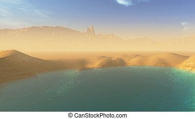 beautiful lake in the desert
