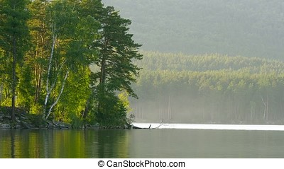 Beautiful lake landscape in a forest. Mountain lake and forrest