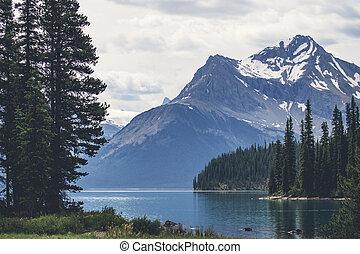 Beautiful lake landscape with mountain peaks