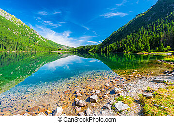 Beautiful Lake Morskie Oko in the morning on a sunny day attractions in Poland