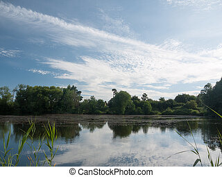 beautiful lake scene on a sunny day in uk