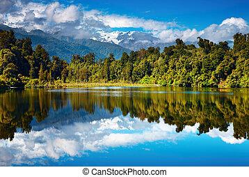 Beautiful lake, Southern Alps, New Zealand