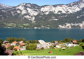 Beautiful Lake Walensee in the Alps, Switzerland