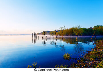 beautiful lake with mountains in the background at sunrise. Trees in water and morning fog.