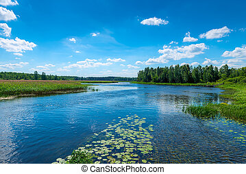 beautiful landscape - a river with clear water, a green forest and a blue sky - the expanses of Russia