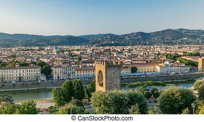 Beautiful landscape above timelapse, panorama on historical view of the Florence from Piazzale Michelangelo point. Italy.