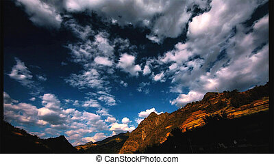 Beautiful landscape and blue sky in the mountains at sunrise.