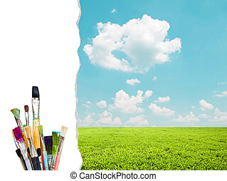 Beautiful landscape and colorful paint brushes - Painting concept