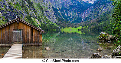 beautiful landscape at Obersee lake in Bavaria, Germany