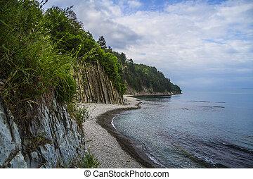 Beautiful landscape at the Black Sea coast and Kiseleva rock