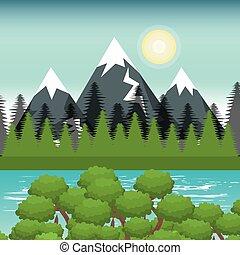 beautiful landscape background icon