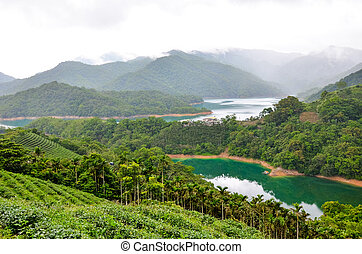 Beautiful landscape by Thousand Island Lake with Pinglin Tea Plantation in Taiwan. Surrounded by green tropical forest. Turquoise water. Moody weather. Amazing China, Asia