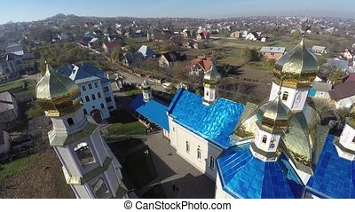 beautiful landscape church in the countryside. drone video....