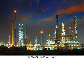beautiful landscape dusky sky of heavy industry oil refinery pla