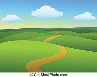 Beautiful landscape - Vector Illustration Of Beautiful...