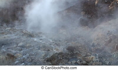 Beautiful landscape hot geyser in mountain on shore of ...
