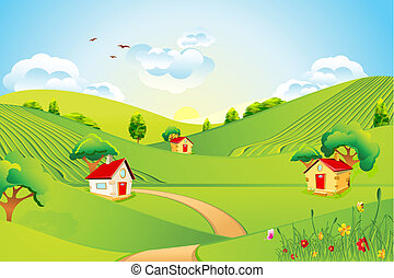 illustration of beautiful landscape with house in grassland