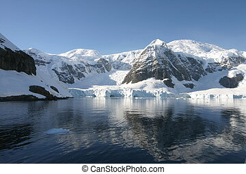 Beautiful landscape in Antartica in morning light. Some snow...