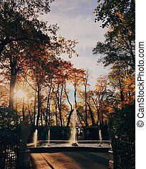 Beautiful landscape in autumn park, fountain, yellow colours, clear sky and sunshine. Nice season. Sunny warm day. Scenery