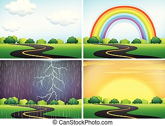 Beautiful Landscape in Different Weather