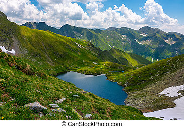 Beautiful landscape in Fagarasan mountains. Popular travel...