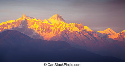 Beautiful landscape in Himalayas at the sunset time , Annapurna area, Nepal