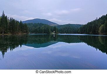 Beautiful landscape in the mountain lake Sinevir.