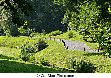 Beautiful landscape in the park on a clear summer day. Green grass on the slopes of a lush foliage of trees with a small path going into the distance.