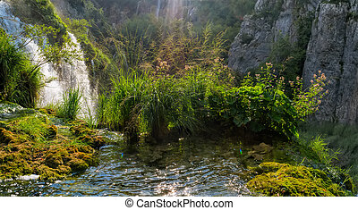 Beautiful landscape in the Plitvice Lakes National Park