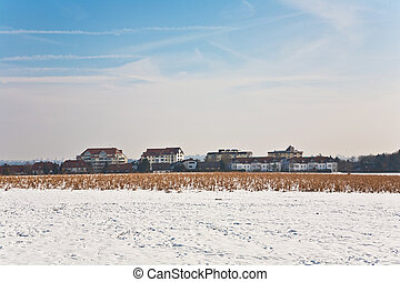 beautiful landscape in winter with snow and housing area
