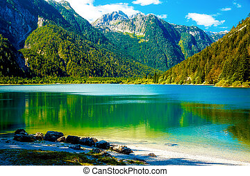 Beautiful landscape, lake with mountain in background.