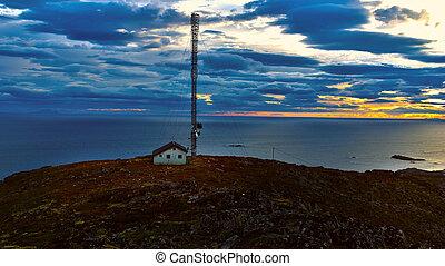 Beautiful landscape Norwegian Islands with radio