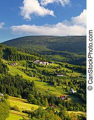 Beautiful landscape of a mountain relief of Krkonose