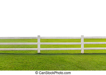 Beautiful landscape of Green meadow with white fence