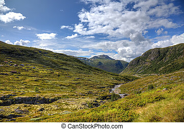 Beautiful landscape of norwegian mountains, scandinavian ...