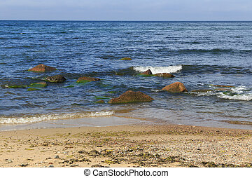 Beautiful landscape of the Baltic Sea coast with sandy beach.