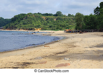 Beautiful landscape of the Baltic Sea coast with the sandy beach.