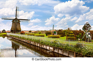 Beautiful landscape of the Netherlands with a windmill