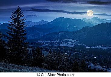 beautiful landscape of zakopane valley at night in full moon...
