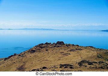 Beautiful landscape on Antelope Island State Park, Utah