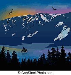 Beautiful landscape on mountains