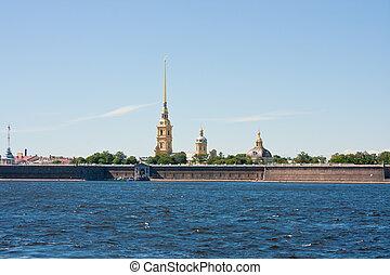 beautiful landscape on the River Neva, Saint Petersburg, Russia